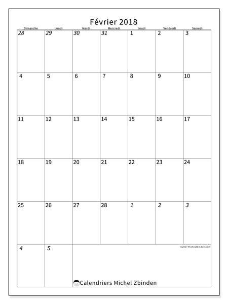Calendrier février 2018 (68DS). Planificateur à imprimer gratuit.