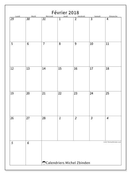 Calendrier février 2018 (68LD). Calendrier gratuit à imprimer.
