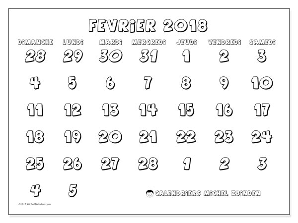 Calendrier février 2018 (71DS). Planificateur à imprimer gratuit.