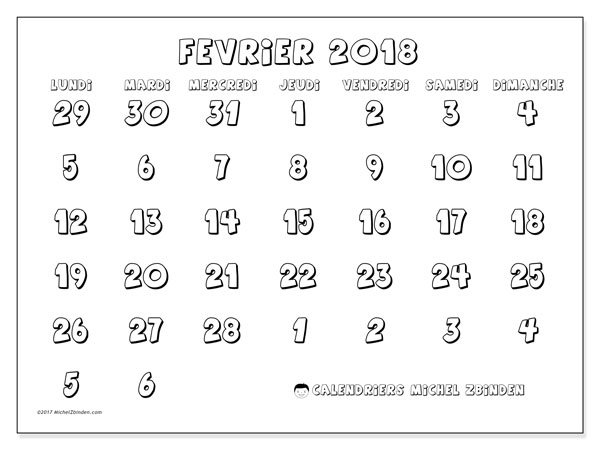 Calendrier février 2018 (71LD). Calendrier imprimable gratuit.