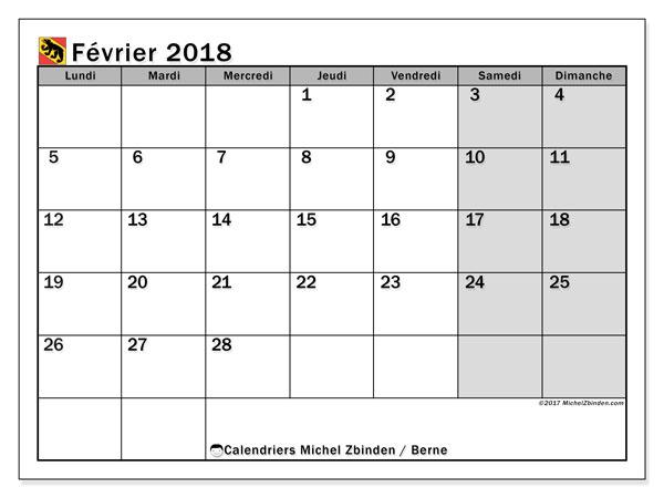 Calendrier février 2018, avec les jours fériés du Canton de Berne. Calendrier gratuit à imprimer.
