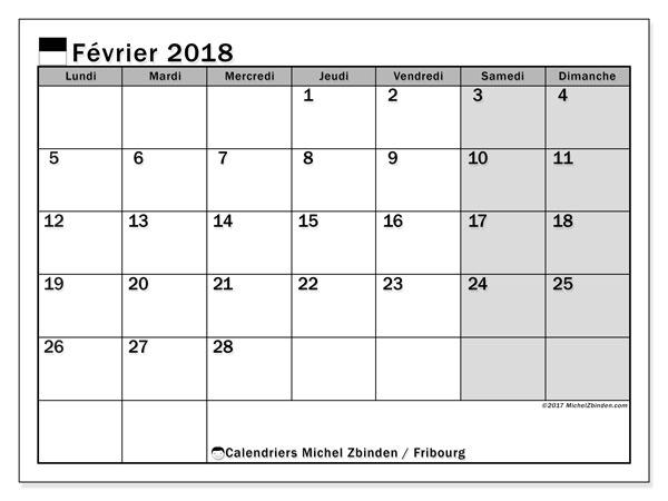 Calendrier février 2018, avec les jours fériés du Canton de Fribourg. Organisateur à imprimer gratuit.