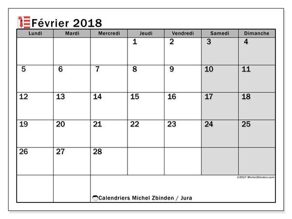 Calendrier février 2018, avec les jours fériés du Canton du Jura. Calendrier gratuit à imprimer.