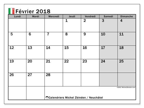 Calendrier à imprimer gratuit février 2018, avec les jours fériés du Canton de Neuchâtel
