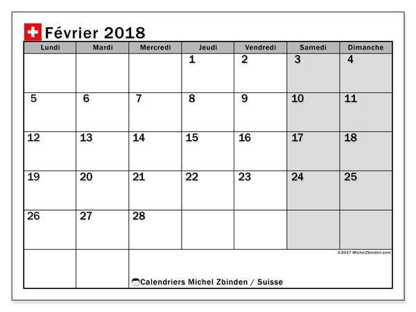 Calendrier février 2018, avec les jours fériés de la Suisse. Organisateur à imprimer gratuit.