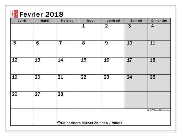 Calendrier février 2018, avec les jours fériés du Canton du Valais. Organisateur à imprimer gratuit.