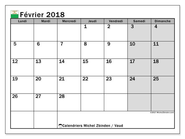 Calendrier février 2018, avec les jours fériés du Canton de Vaud. Calendrier gratuit à imprimer.