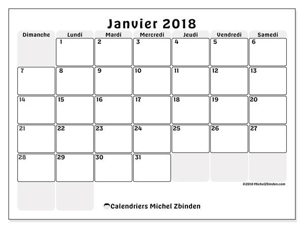 Calendrier janvier 2018 (44DS). Organisateur à imprimer gratuit.