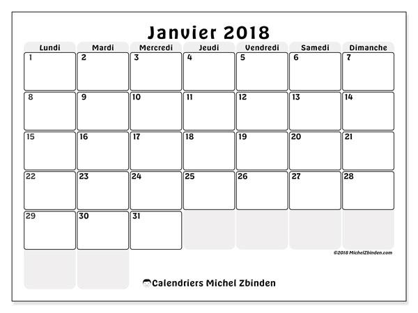 Calendrier janvier 2018 (44LD). Calendrier mensuel à imprimer gratuit.