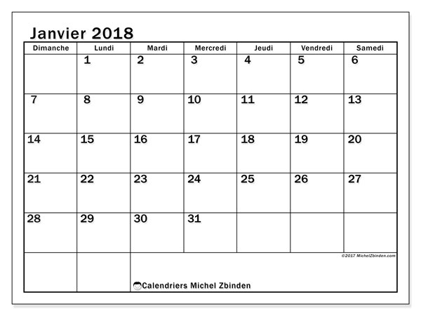Calendrier janvier 2018 (50DS). Calendrier mensuel à imprimer gratuit.
