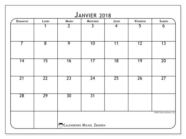 Calendrier janvier 2018 (51DS). Calendrier mensuel à imprimer gratuit.