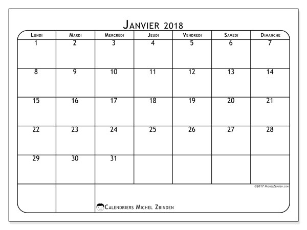 Calendrier à imprimer gratuit janvier 2018, 51LD. Calendrier mensuel.