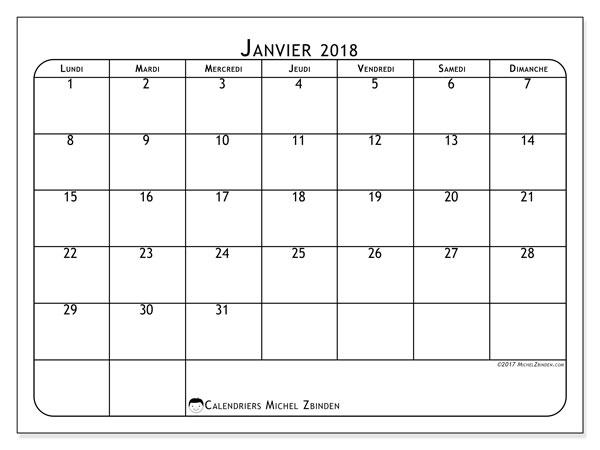 Calendrier janvier 2018 (51LD). .