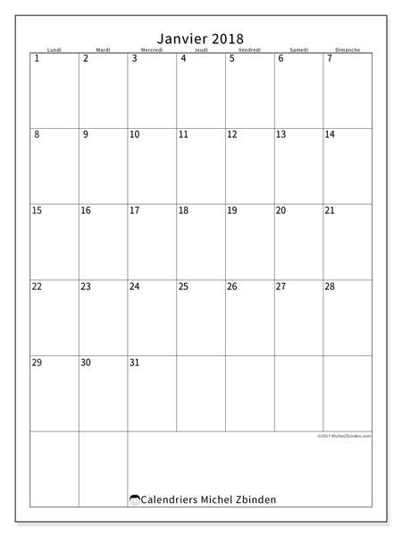 Calendrier janvier 2018 (52LD). Planificateur à imprimer gratuit.