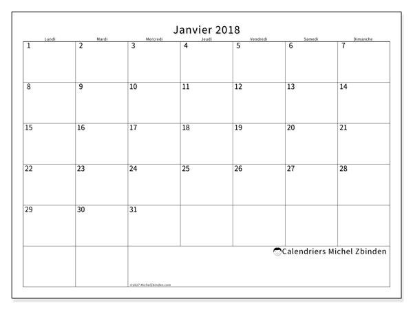 Calendrier janvier 2018 (53LD). Planificateur à imprimer gratuit.