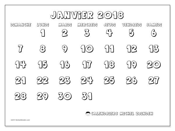 Calendrier janvier 2018 (56DS). Calendrier imprimable gratuit.