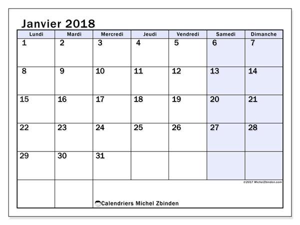 Calendrier janvier 2018 (57LD). Calendrier gratuit à imprimer.