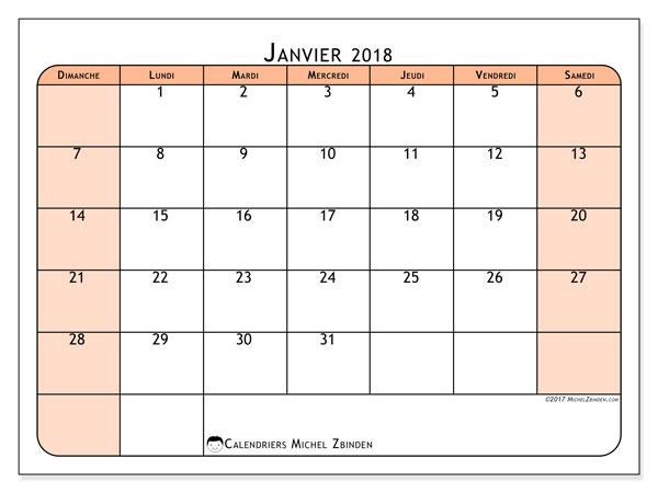Calendrier janvier 2018 (61DS). Planificateur à imprimer gratuit.