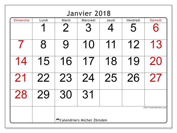 Calendrier janvier 2018 (62DS). Calendrier mensuel à imprimer gratuit.