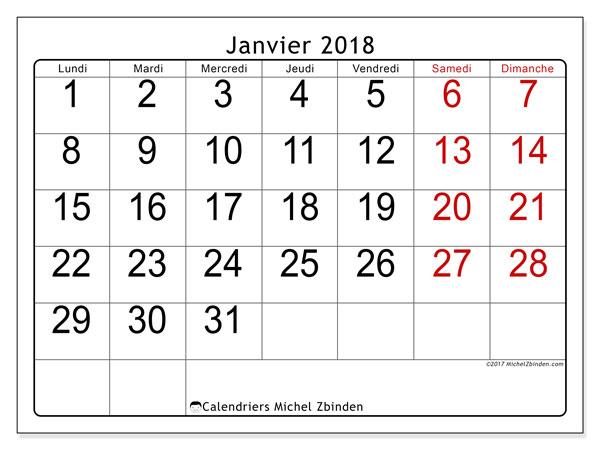 Calendrier janvier 2018 (62LD). Planificateur à imprimer gratuit.
