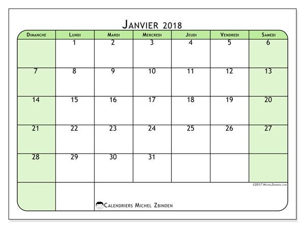 Calendrier janvier 2018 (65DS). Planificateur à imprimer gratuit.