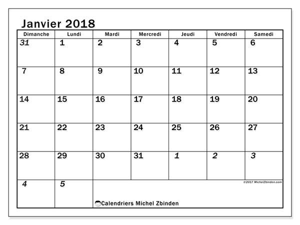 Calendrier janvier 2018 (66DS). Calendrier mensuel à imprimer gratuit.
