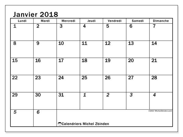 Calendrier janvier 2018 (66LD). Calendrier imprimable gratuit.