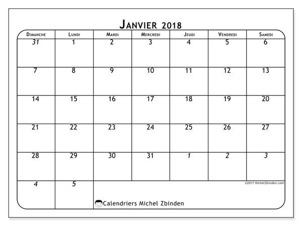 Calendrier janvier 2018 (67DS). Calendrier gratuit à imprimer.