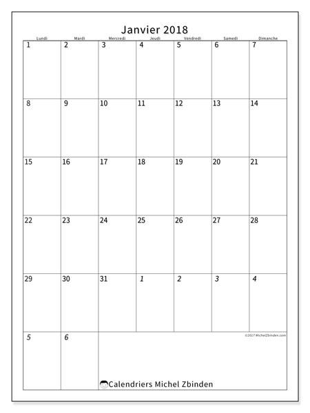 Calendrier janvier 2018 (68LD). Planificateur à imprimer gratuit.