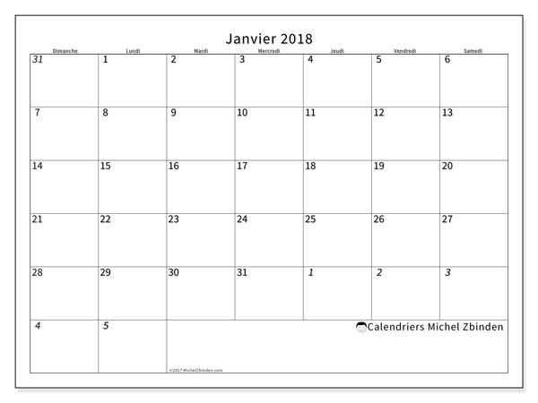 Calendrier janvier 2018 (70DS). Calendrier pour le mois à imprimer gratuit.