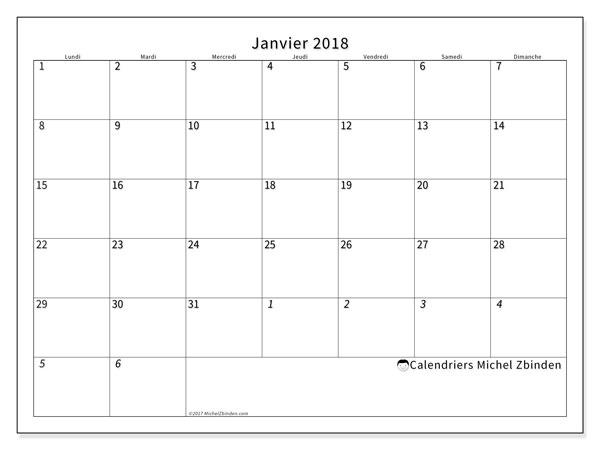 Calendrier janvier 2018 (70LD). Organisateur à imprimer gratuit.