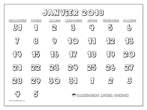 Calendrier janvier 2018 (71DS). Planificateur à imprimer gratuit.