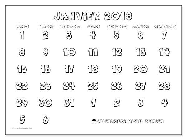 Calendrier à imprimer gratuit janvier 2018, 71LD. Calendrier mensuel.