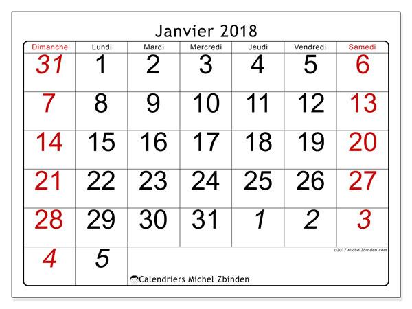 Calendrier janvier 2018 (72DS). Organisateur à imprimer gratuit.