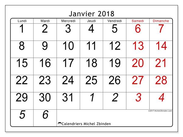 Calendrier janvier 2018 (72LD). Calendrier pour le mois à imprimer gratuit.