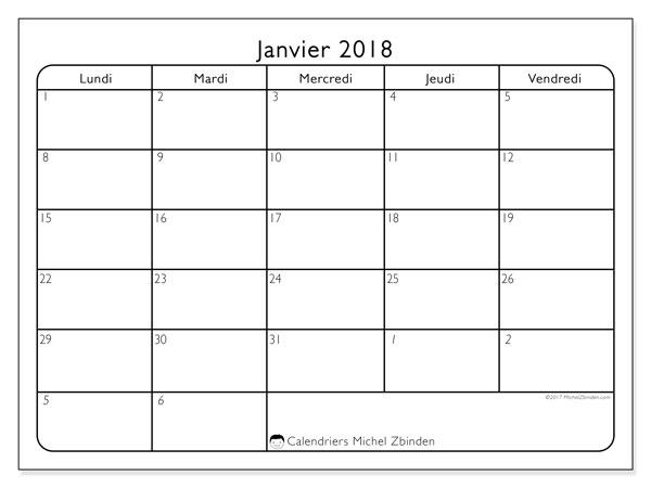 Calendrier janvier 2018 (74LD). Calendrier mensuel à imprimer gratuit.