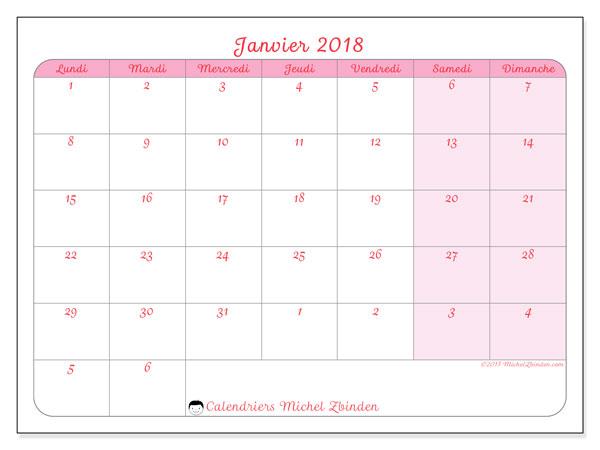 Calendrier janvier 2018 (76LD). Calendrier mensuel à imprimer gratuit.