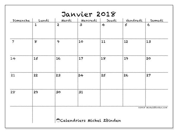 Calendrier janvier 2018 (77DS). Planificateur à imprimer gratuit.