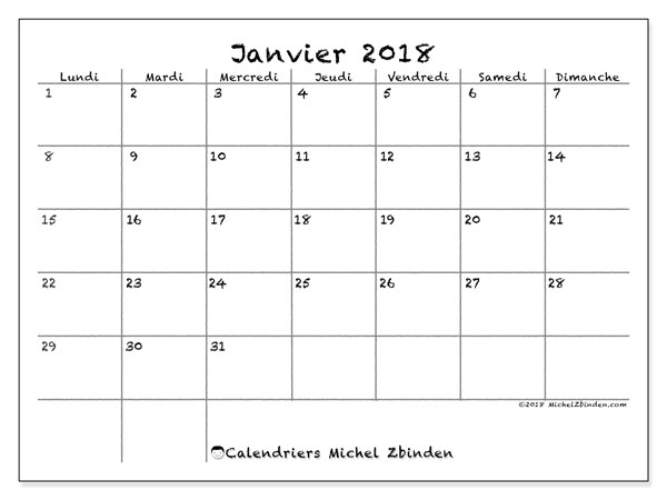 Calendrier janvier 2018 (77LD). Organisateur à imprimer gratuit.