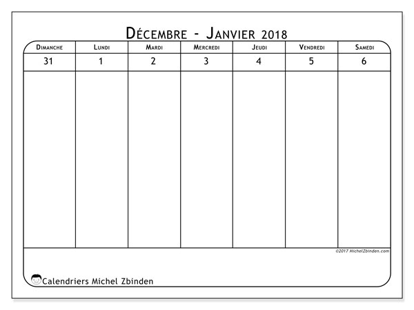 Calendrier janvier 2018 (90DS). Calendrier pour la semaine à imprimer gratuit.