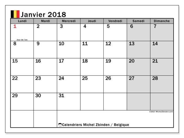 Calendrier à imprimer gratuit janvier 2018, avec les jours fériés de la Belgique
