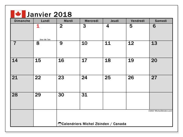 Calendrier janvier 2018, avec les jours fériés du Canada. Calendrier pour le mois à imprimer gratuit.