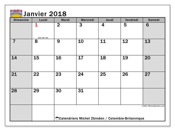 Calendrier janvier 2018, avec les jours fériés de la Colombie-Britannique. Organisateur à imprimer gratuit.