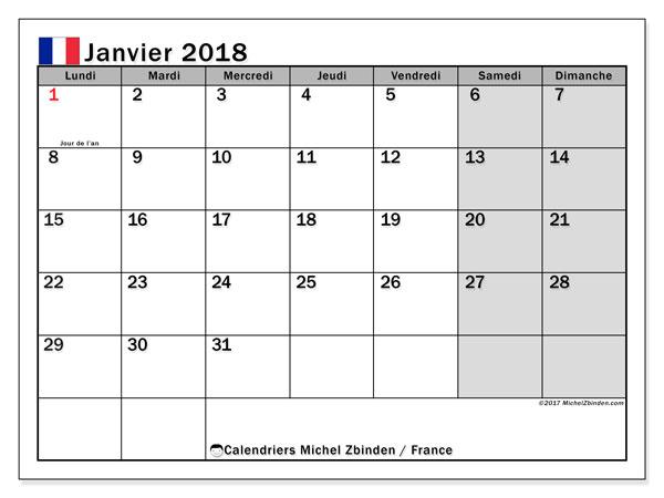 Calendrier janvier 2018, avec les jours fériés de la France.. Planificateur à imprimer gratuit.