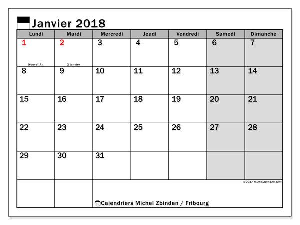 Calendrier janvier 2018, avec les jours fériés du Canton de Fribourg. Organisateur à imprimer gratuit.