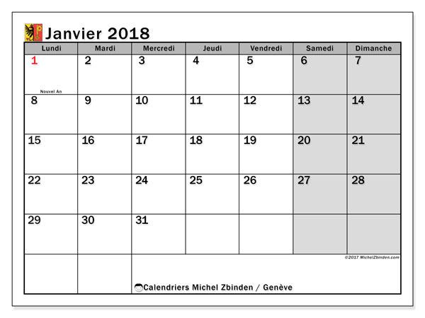 Calendrier janvier 2018, avec les jours fériés du Canton de Genève. Organisateur à imprimer gratuit.