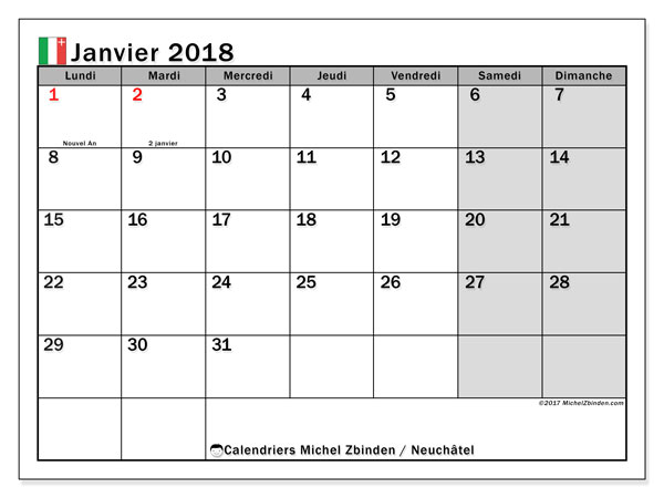 Calendrier janvier 2018, avec les jours fériés du Canton de Neuchâtel. Calendrier gratuit à imprimer.