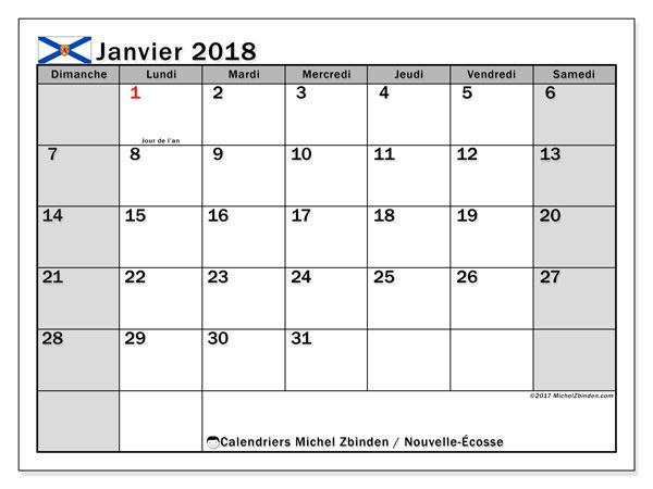 Calendrier janvier 2018, avec les jours fériés de la Nouvelle-Écosse. Planificateur à imprimer gratuit.