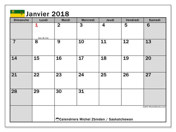 Calendrier janvier 2018, avec les jours fériés de la Saskatchewan. Calendrier pour le mois à imprimer gratuit.