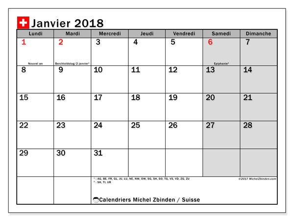 Calendrier janvier 2018, avec les jours fériés de la Suisse. Organisateur à imprimer gratuit.